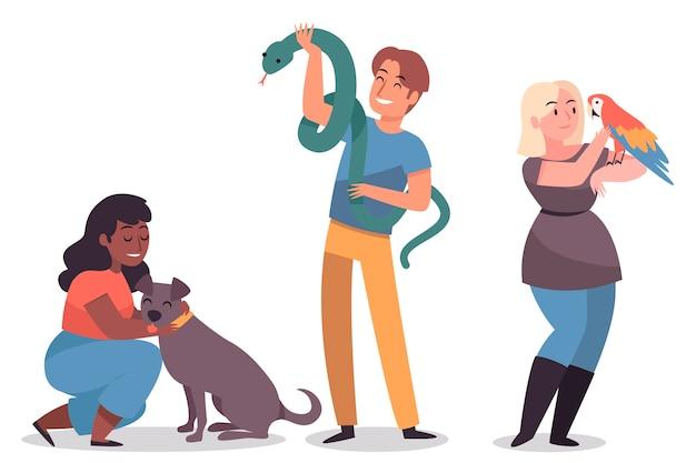 Pessoas com cachorro, papagaio e cobra