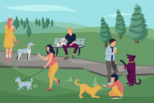 Pessoas com cães, composição plana com paisagem ao ar livre do parque com árvores e pessoas passeando com seus cachorros