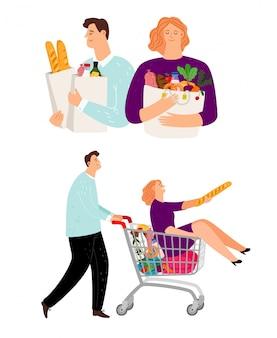 Pessoas com carrinho de compras, homem e mulher