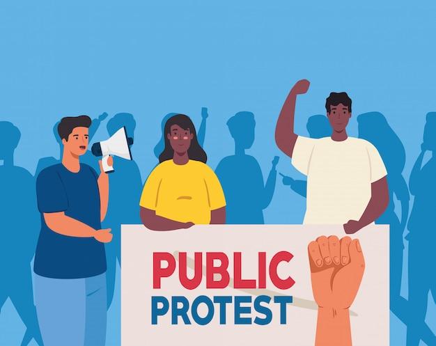 Pessoas com cartaz de protesto e megafone, ativistas com sinal de manifestação de greve e megafone, conceito de direitos humanos