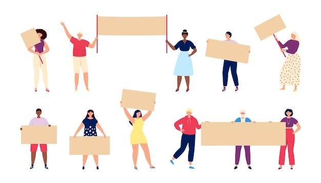 Pessoas com cartazes. cara ativo, político segurando uma bandeira de protesto. personagens de vetor total de menina, voto ou demonstração do feminismo. cartaz de demonstração de ilustração, protesto político