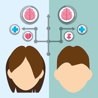 Pessoas com cérebro mental saudável e ícones