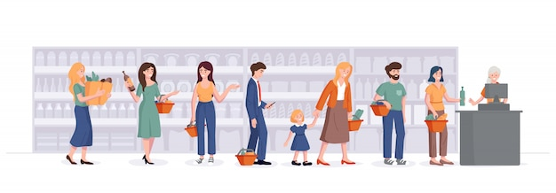 Pessoas com cestas ficam na fila do caixa no supermercado. consumidor na mercearia esperando na fila e falando sobre o fundo das prateleiras. ilustração do conceito de compras