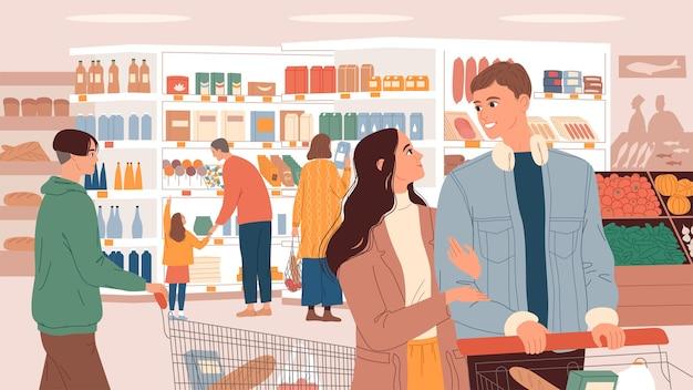 Pessoas com cestas no supermercado escolhem produtos.