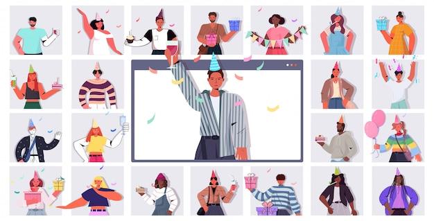 Pessoas com chapéus festivos comemorando a festa de aniversário online