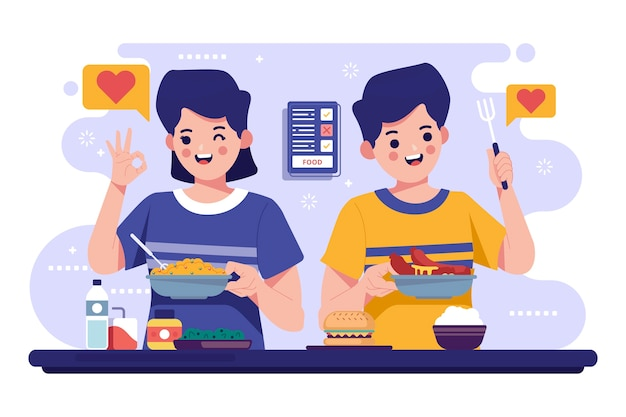 Pessoas com coleção de alimentos ilustrada