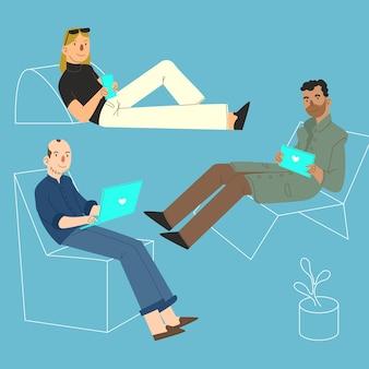 Pessoas com coleção de dispositivos de tecnologia