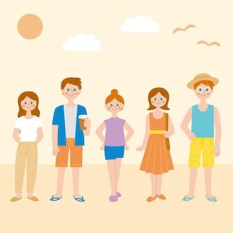 Pessoas com coleção de roupas de verão