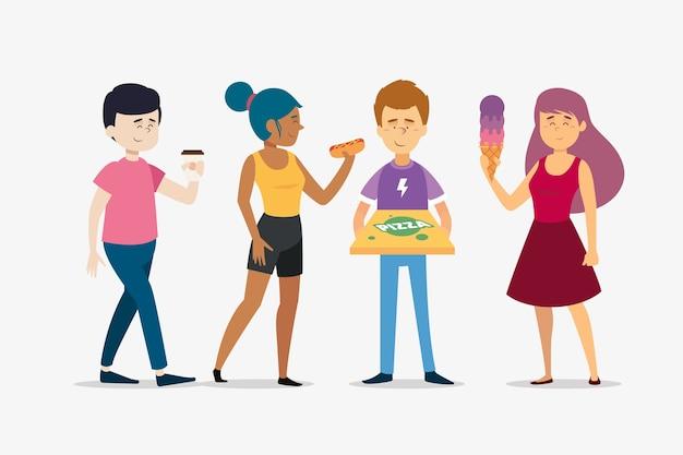 Pessoas com comida deliciosa