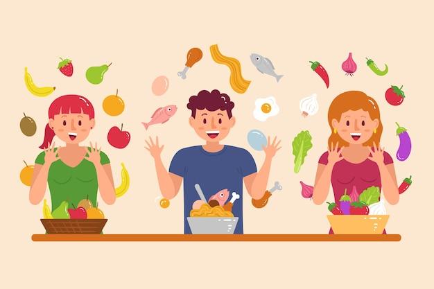 Pessoas com comida ilustrada conceito
