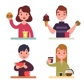 Pessoas com comida ilustrada