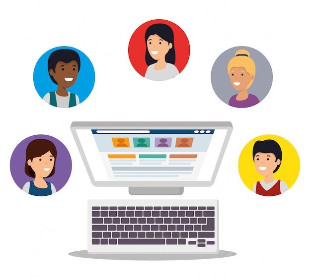 Pessoas com computador e mensagem de rede social