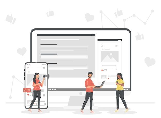 Pessoas com computador e smartphone Vetor Premium