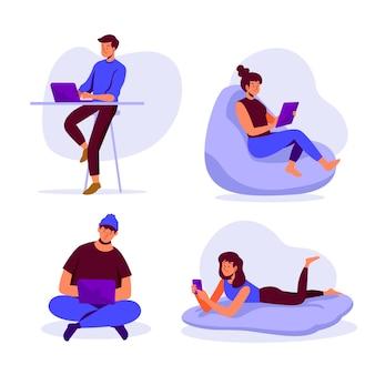 Pessoas com conceito de dispositivos de tecnologia