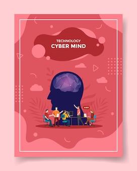 Pessoas com conceito de mente cibernética discutem encontro com o cérebro frontal