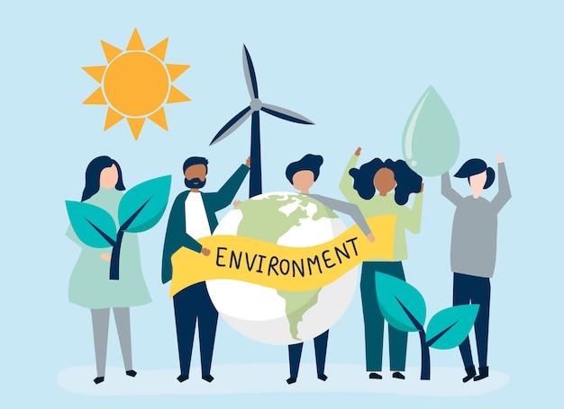 Pessoas com conceito de sustentabilidade ambiental