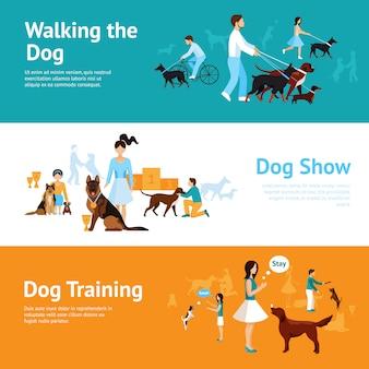 Pessoas com conjunto de banner de cães