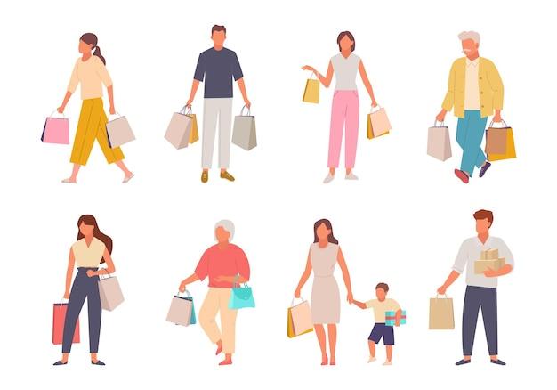 Pessoas com conjunto de compras