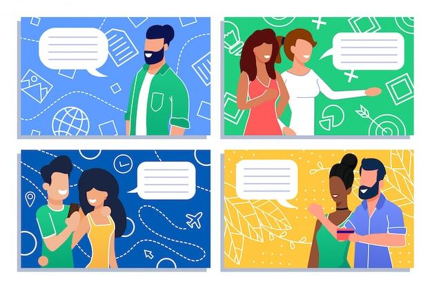 Pessoas com conjunto de conversa e comunicação