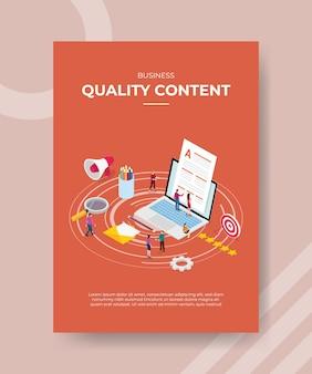 Pessoas com conteúdo de qualidade comercial trabalhando em um laptop para um modelo de banner e panfleto