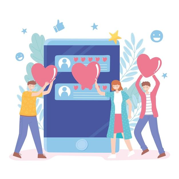 Pessoas com coração gostam de avaliação de mídia social e ilustração de feedback