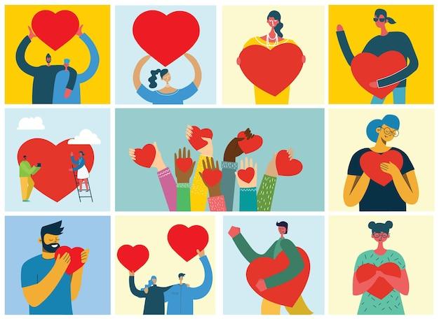 Pessoas com corações como amor fazem massagens ilustração
