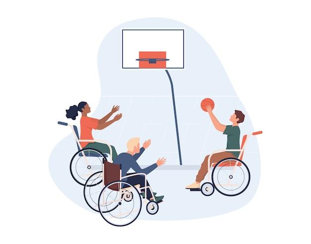 Pessoas com deficiência alegres em cadeira de rodas jogando basquete. de esportes adaptativos para pessoas com deficiência.