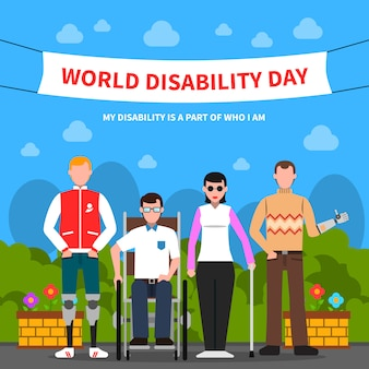 Pessoas com deficiência apoiar cartaz plano