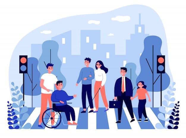 Pessoas com deficiência atravessando a rua