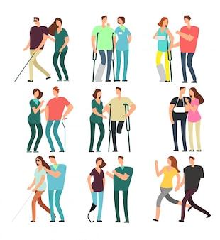 Pessoas com deficiência com amigos carinhosos. pessoas com deficiência e assistentes médicos