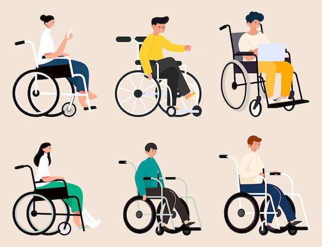 Pessoas com deficiência com várias atividades em cadeiras de rodas, usam smartphone ou trabalham em um laptop em um personagem de desenho animado