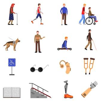 Pessoas com deficiência deficientes ícones planas definida