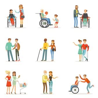 Pessoas com deficiência e amigos, ajudando-os a se preparar. desenhos animados ilustrações coloridas detalhadas