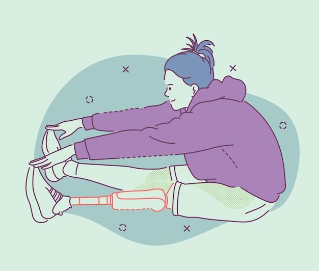 Pessoas com deficiência e estilo de vida saudável. mulher com prótese se aquecendo