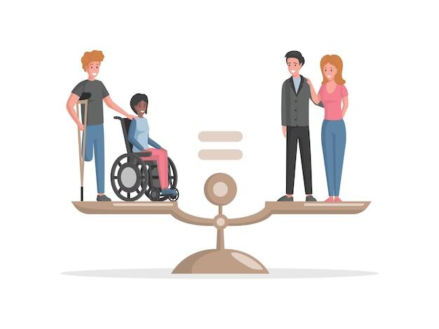 Pessoas com deficiência e pessoas válidas em pé na escala plana de vetor