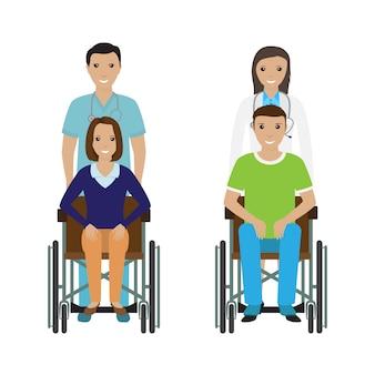 Pessoas com deficiência em cadeira de rodas com material hospitalar.