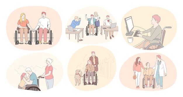 Pessoas com deficiência em cadeira de rodas vivendo o conceito de estilo de vida ativo e feliz.