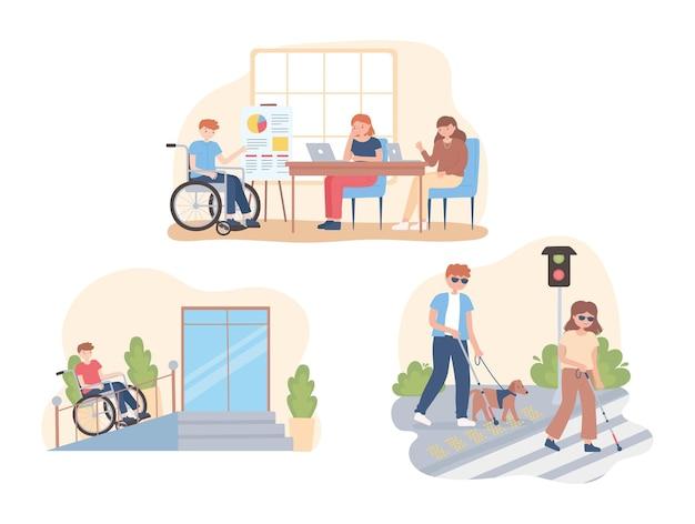 Pessoas com deficiência em diferentes atividades, trabalhando, caminhando, ilustração dos desenhos animados