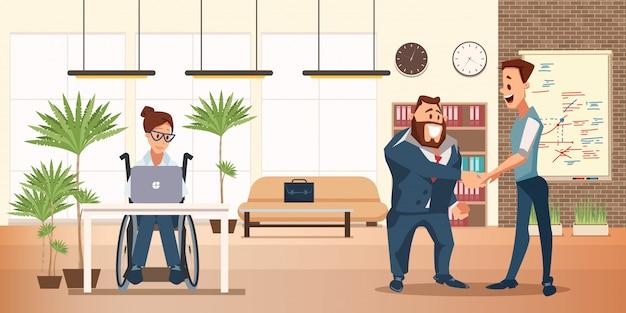 Pessoas com deficiência escritório conceito plana de trabalho
