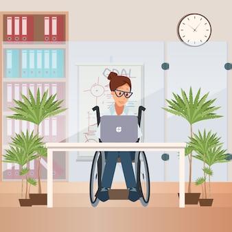 Pessoas com deficiência escritório conceito plana