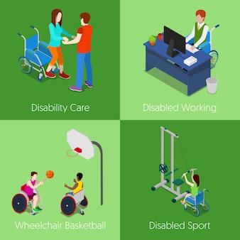 Pessoas com deficiência isométricas. assistência a pessoas com deficiência, trabalho com deficiência, basquete em cadeira de rodas, esporte com deficiência. ilustração 3d plana