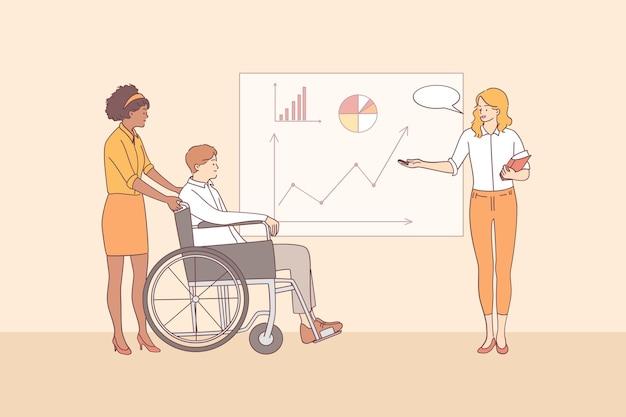 Pessoas com deficiência, trabalhando no escritório, reunião, conceito de negociações. empresário em cadeira de rodas e jovens trabalhadores de escritório, tendo reuniões e discutindo projeto corporativo juntos.