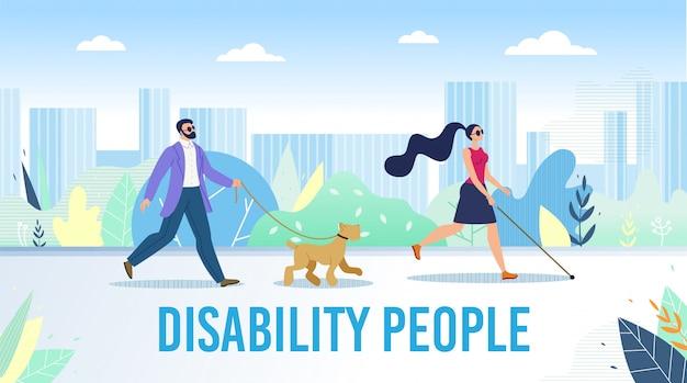 Pessoas com deficiência vida diária plana banner