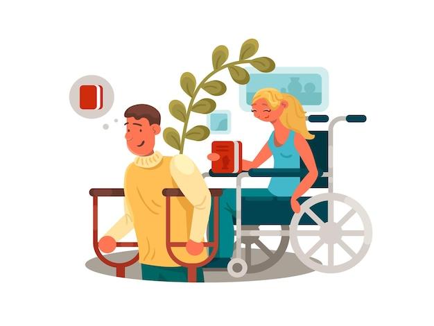 Pessoas com deficiências. homem com muletas e mulher em cadeira de rodas. ilustração vetorial