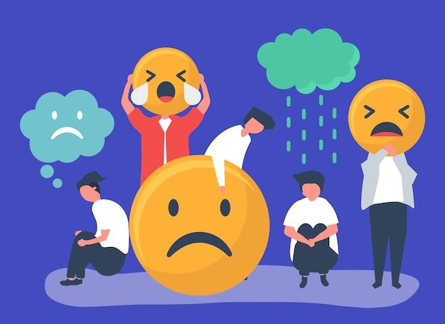 Pessoas com depressão e infelicidade