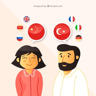 Pessoas com design plano falando línguas diferentes