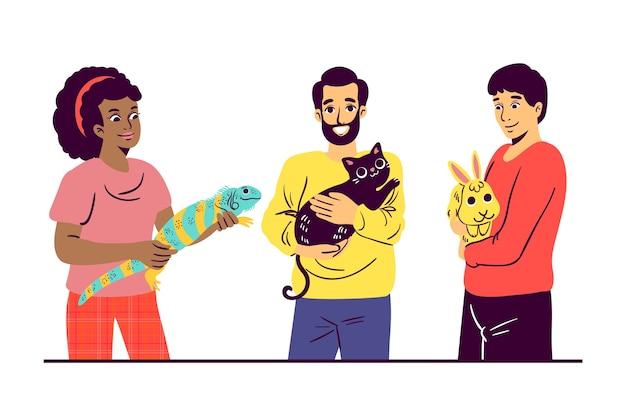 Pessoas com diferentes animais de estimação ilustrados