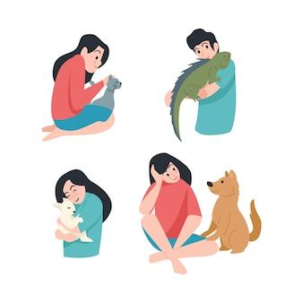Pessoas com diferentes animais de estimação