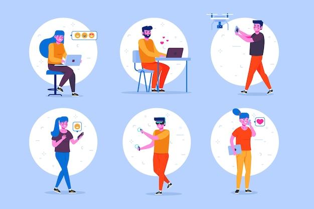 Pessoas com diferentes dispositivos de tecnologia