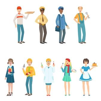 Pessoas com diferentes profissões na coleção de roupas clássicas.